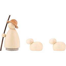 Schäfer mit 2 Schafen lasiert - klein - 7 cm