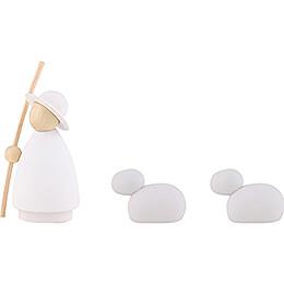 Schäfer mit 2 Schafen natur/weiß - klein - 7 cm