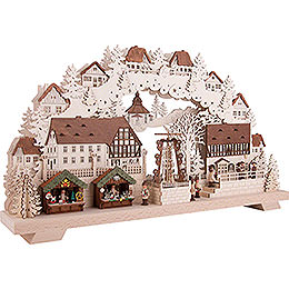 Candle Arch - Christmas Market with Turning Pyramid - 70x40 cm / 27.5x15.7 inch