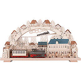 3D Candle Arch - Railway with smoking Engine - 70x38 cm / 27.6x15 inch