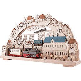 3D-Doppelschwibbogen Eisenbahn mit rauchender Lok - 70x38 cm