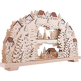 3D Candle Arch - Forest - with Deer and Forester - 70x38 cm / 27.6x15 inch