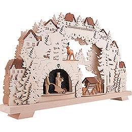3D Candle Arch - Mining - with Deer and Miners - 70x38 cm / 27.6x15 inch