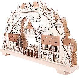Schwibbogen Seiffener Dorf braun lasiert mit Kurrende - 70x38 cm