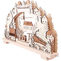 Schwibbogen Dorfkirche mit Zug - 70x38 cm