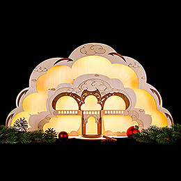 Angel House with LED Lights - 55x27 cm / 22x10.7 inch