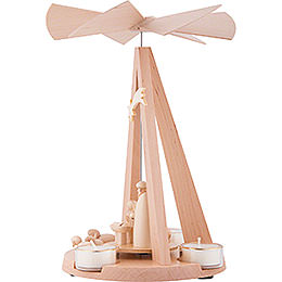 1-stöckige Pyramide Mini-Delta natur mit Christi Geburt - 26 cm