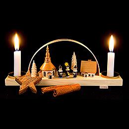 Candle Arch Dorf Seiffen mit Kurrende - natur - 24x12 cm / 9.4x4.7 inch