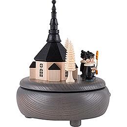 Spieldose Seiffener Kirche und Kurrende - grau - 13 cm