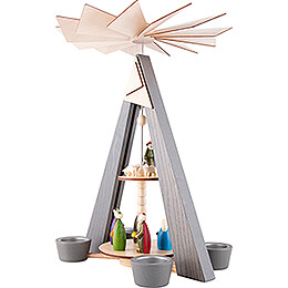 2-Tier Pyramid - Nativity - Grey - 36 cm / 14.2 inch