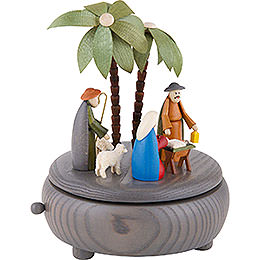 Spieldose Christi Geburt - grau - 18 cm