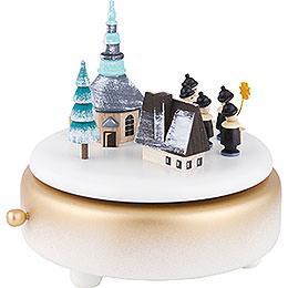 Spieldose Winterdorf Seiffen mit Kurrende - weiß - 14 cm