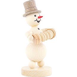 Snowman Musician Concertina Player - 12 cm / 4.7 inch