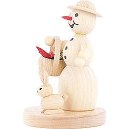 Schneefrau mit Korb und Hase - 11 cm