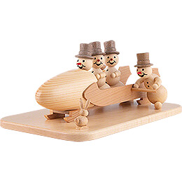 Snowman Four-Man Bobsled with Anschieber with Zylinder - 13 cm / 5.1 inch