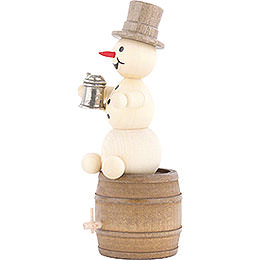 Snowman with Stein on Beer Barrel - 13 cm / 5.1 inch