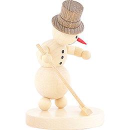Schneemann Curlingspieler mit Besen - 12 cm