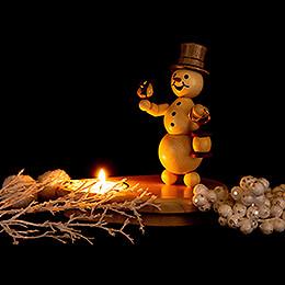 Schneemannleuchter mit Laterne - 12 cm