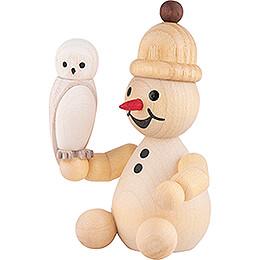 Snowman Junior with Snowy Owl sitting - 7 cm / 2.8 inch