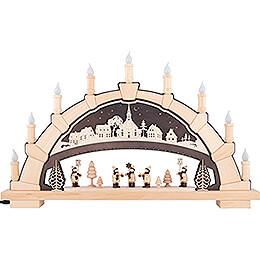 Schwibbogen Kirche Seiffen mit Kurrendesängern - 66x40 cm