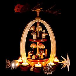 2-stöckige Pyramide Christi Geburt mit Thiel-Figuren - Exklusiv - 44 cm