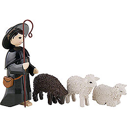 Shepherd with 3 Sheep, Colored - 7 cm / 2.8 inch