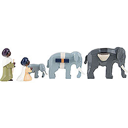 Elephant Herder, Set of Five, Colored - 7 cm / 2.8 inch