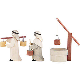 Water Carriers with Well, Set of Three, Stained - 7 cm / 2.8 inch