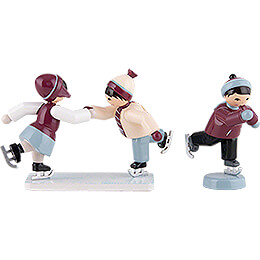 Winter Children Ice Skaters - 3 pcs. - purple - 7 cm / 2.8 inch