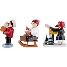 Winter Children Christmas Post - 3 pcs. - red - 7 cm / 2.8 inch