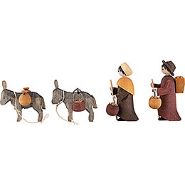 Donkey Train, Set of Four, Stained - 7 cm / 2.8 inch