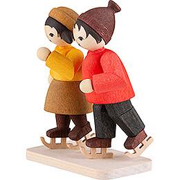 Winterkinder Schlittschuhpaar gebeizt - 7 cm