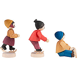 Winterkinder Eislaufkinder 3-teilig gebeizt - 7 cm