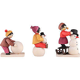 Winter Children Snowman Builders - 3 pcs. - stained - 7 cm / 2.8 inch