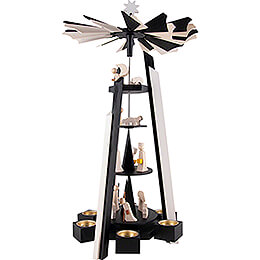 4-Tier Pyramid - Nativity - black-white - 60 cm / 23.6 inch