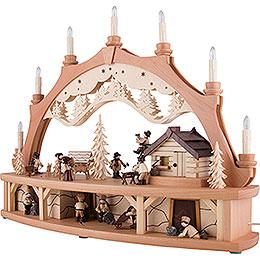 Schwibbogen Waldhaus mit beweglichen Figuren - 68x50 cm