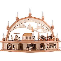 Schwibbogen Altstadt mit Arcaden und beweglichen Figuren - 76x55 cm