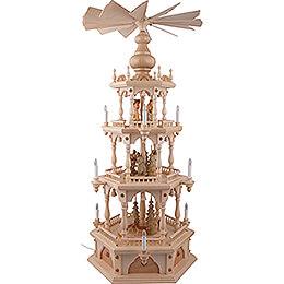 3-stöckige Pyramide Erzgebirgische Waldmotive - 110 cm
