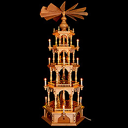 4-stöckige Pyramide Erzgebirgische Waldmotive - 140 cm