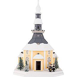 Lichterhaus Seiffener Kirche mit Kurrende und Weihnachtsbaum - 42 cm