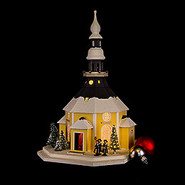 Lighted House Seiffen Church with Carolers and Christmas Tree - 42 cm / 16.5 inch