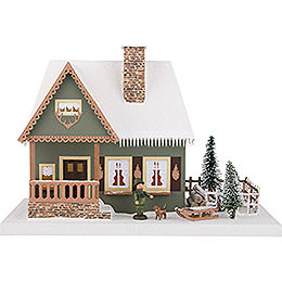 Lighted House Old Forester's Lodge with Christmas Tree - 25 cm / 9.8 inch
