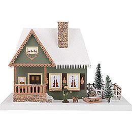 Lichterhaus Altes Forsthaus mit Weihnachtsbaum - 25 cm