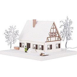 Lighted House Timber-Framed Ore Mountains Home - 11,5 cm / 4.5 inch