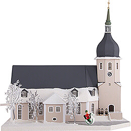 Lighted House Church Olbernhau with Carolers - 36 cm / 14.2 inch