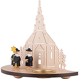 Tea Light Holder - Seiffen Church with Carolers - Black - 16 cm / 6.3 inch