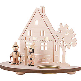 Tea Light Holder - Forest Hut with Skier - 16 cm / 6.3 inch