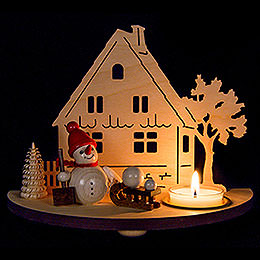 Tea Light Holder - Snowman - Red - 13 cm / 5.1 inch