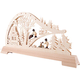 Candle Arch - Forest Cabin with Woodsmen - 65x32 cm / 25.6x12.6 inch