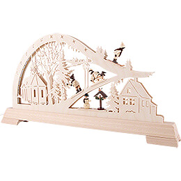 Candle Arch - Church with Winter Sportspeople - 65x32 cm / 25.6x12.6 inch